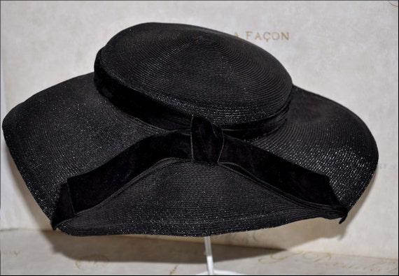 Black Wide Brimmed Hat, Vintage Black Hat, Vintage