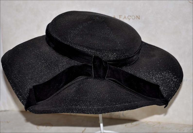 a455033aba418 Black Wide Brimmed Hat Vintage Black Hat Vintage Straw Hat