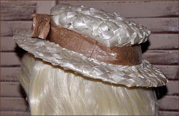 Ivory Cellophane Straw Hat, Ivory Wide Brimmed Ha… - image 5