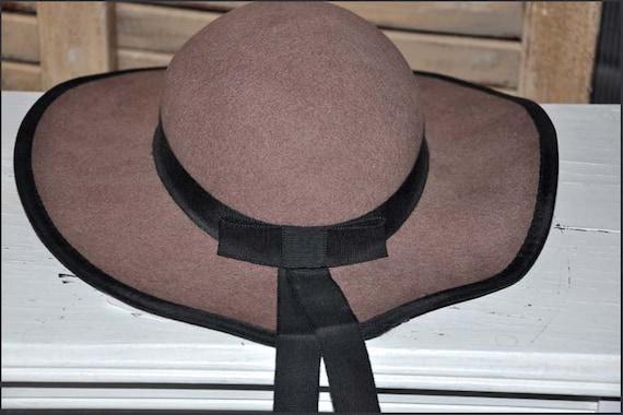 Fawn Wool Hat, Wide Brimmed Hat, Tan Wide Brim Hat