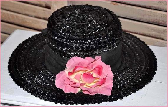 Black Straw Hat, Black Wide Brim Hat, Ladies Blac… - image 1