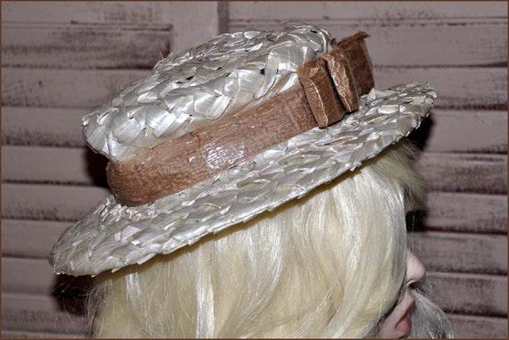 Ivory Cellophane Straw Hat, Ivory Wide Brimmed Ha… - image 2