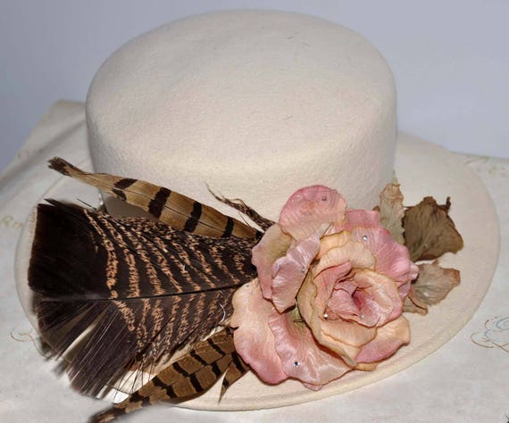 Ivory Wide Brim Vintage Hat, Cream Vintage Hat, Cr
