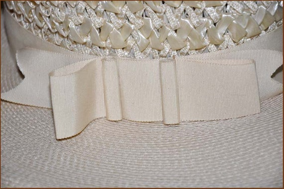 Ivory Straw Boaters Hat, Ivory Wide Brim Hat, Lad… - image 2