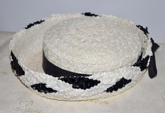 Vintage Blue and White Straw Hat, Navy Blue and Wh