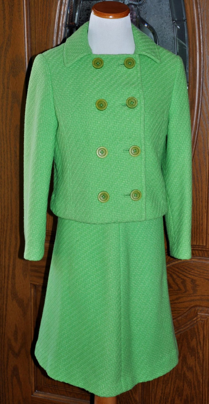 Vintage 1960's Jackie Kennedy Style Custom Made Double Breasted Suit Size  2/4, Custom Made Suit, Jackie O Style Suit, Green Wool Suit
