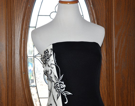 Vintage Jovani White and Black Embroidered Beaded