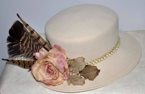 Ivory Wide Brim Vintage Hat, Cream Vintage Hat, C… - image 4