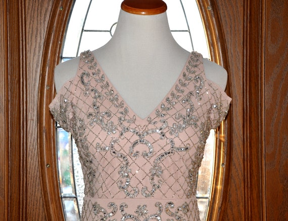 Adrianna Papell Beaded Blush Formal Evening Gown Adrianna Etsy