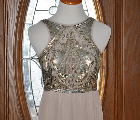 River Island Beaded Formal Gown, Nude Full Length
