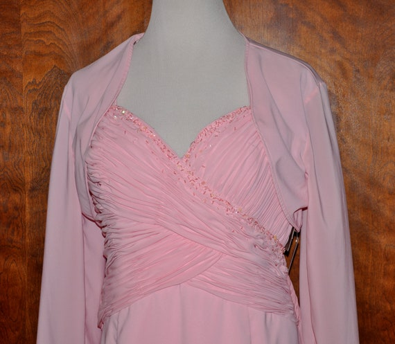 LaPerle Pink Beaded Formal Evening Gown and Jacket