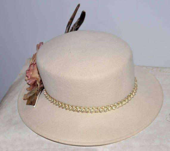 Ivory Wide Brim Vintage Hat, Cream Vintage Hat, C… - image 3
