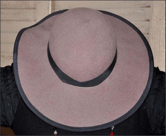 Fawn Wool Hat, Wide Brimmed Hat, Tan Wide Brim Ha… - image 2