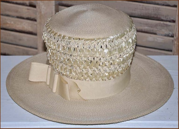 Ivory Straw Boaters Hat, Ivory Wide Brim Hat, Lad… - image 3