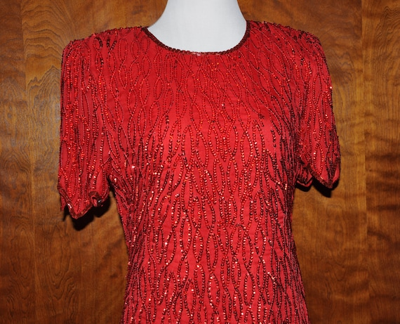 Vintage Red Beaded Gatsby Flapper Formal Dress, Be