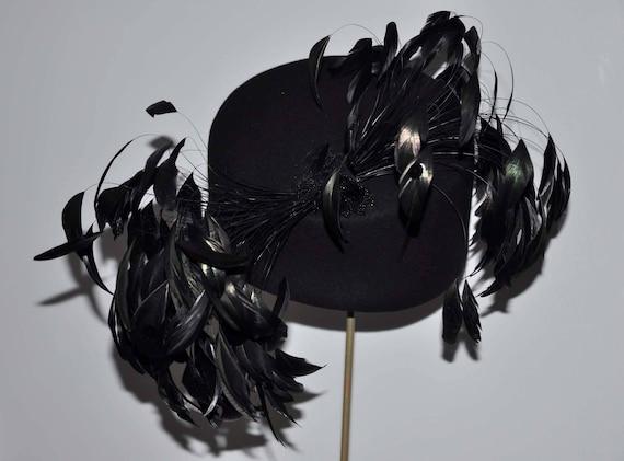 Vintage Black Wool Feather Hat, Vintage Feather Ha