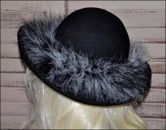 Black Wide Brim Hat, Black Wool Hat, Ladies Black