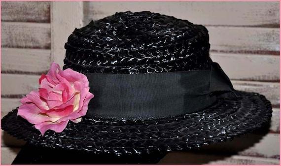 Black Straw Hat, Black Wide Brim Hat, Ladies Blac… - image 3