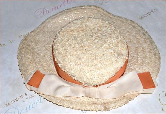 Ivory Wide Brim Hat, Cello Straw Hat, Wide Brimmed