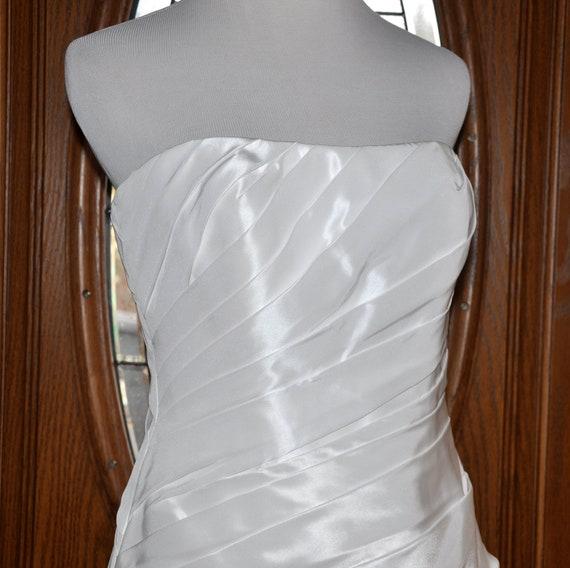 fbb92fc1335b5 White Galina David's Bridal Strapless Short Wedding Gown | Etsy