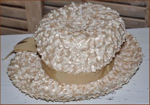 Ivory Straw Hat, Cream Straw Hat, Wide Brim Cello… - image 4