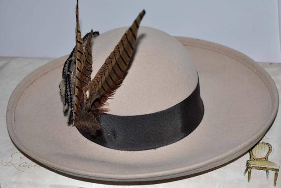 Beige Vintage Wide Brim Hat, Vintage Wide Brim Wo… - image 3