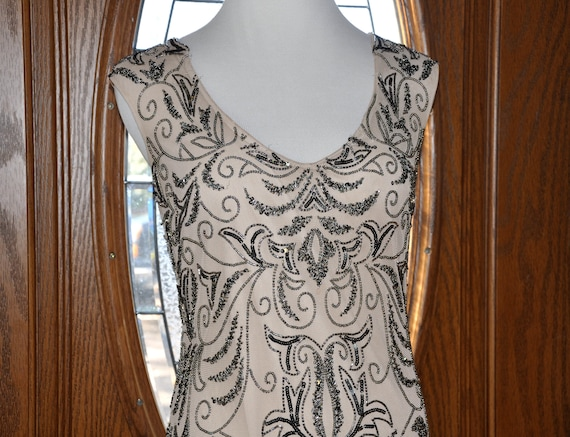 Vintage Adrianna Papell Beaded Sequin Nude Gown, N