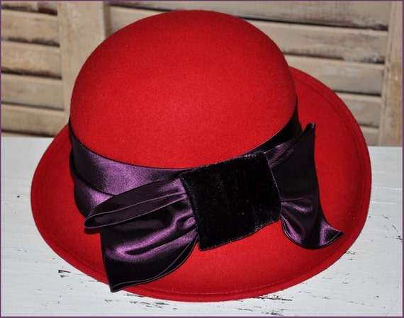 Red Wool Hat, Ladies Red Hat, Red Hat Society, Red