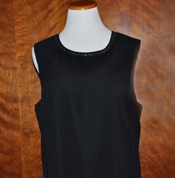Vintage 20s Style Gatsby Flapper Black Beaded Dres