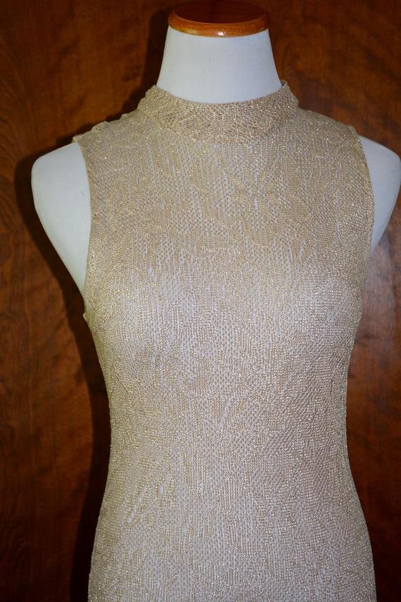 Onyx Nite Ivory Gold Sleeveless Crochet Evening Go
