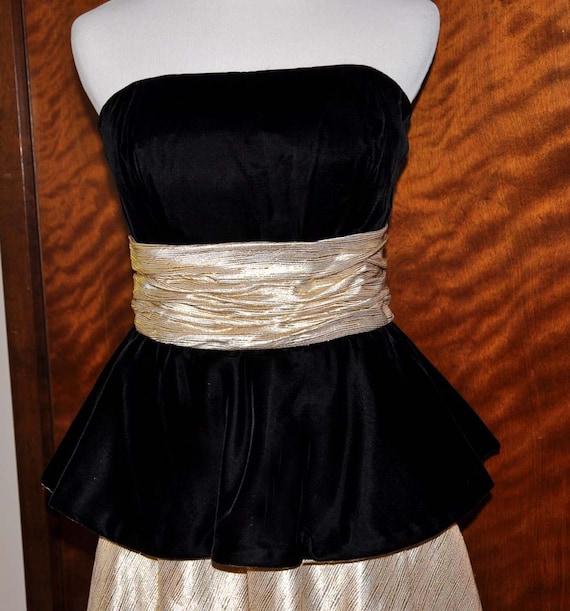 Vintage Black Velvet, Gold Lamaze Gown, Full Lengt