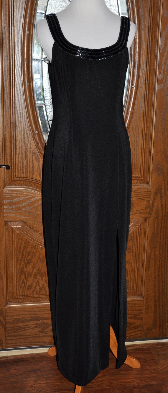 Alex Evenings Black Beaded Evening Gown, Black Be… - image 2