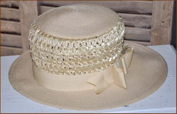 Ivory Straw Boaters Hat, Ivory Wide Brim Hat, Lad… - image 5