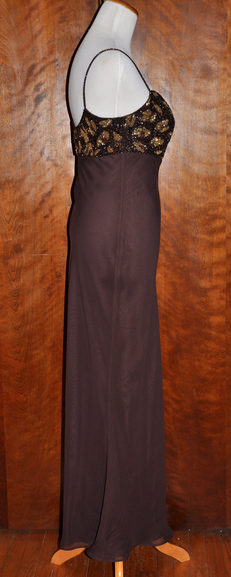 Vintage Dark Brown Empire Waist Beaded Spaghetti Strap Gown Brown Vintage Full Length Gown Mother of Bride Brown Beaded Empire Waist Gown