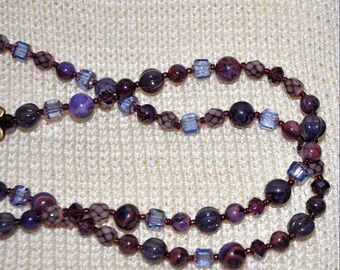 Purple Beaded Necklace, Ice Blue Cathedral Beads, 37 Inch Necklace, Long Beaded Necklace, Glass Bead Necklace,