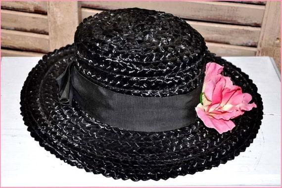 Black Straw Hat, Black Wide Brim Hat, Ladies Blac… - image 2