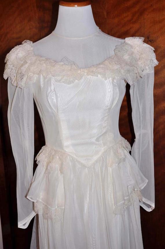 Vintage 1920's White/Vanilla Wedding Gown With Lon