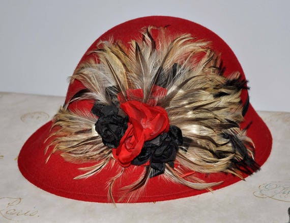 Vintage Red Feather Hat, Vintage Red Wool Hat, Red