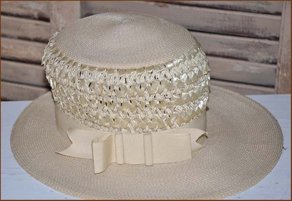 Ivory Straw Boaters Hat, Ivory Wide Brim Hat, Lad… - image 1