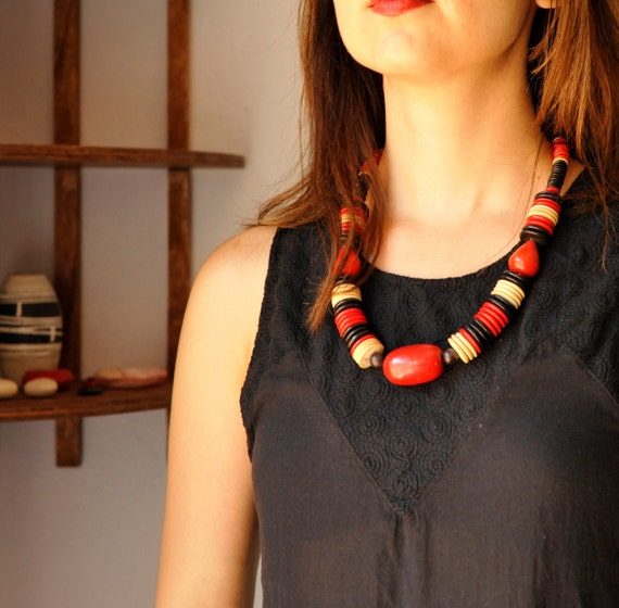 Vintage Necklace | Chunky Multi-color Wood Beaded