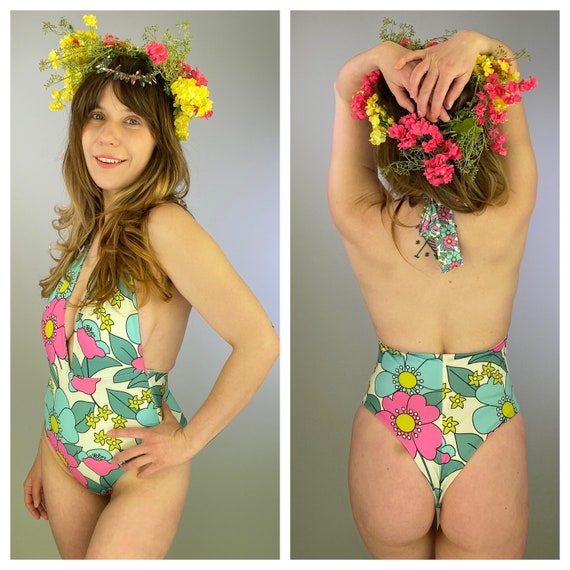 70's floral deep plunge one piece