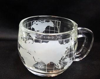 Vintage Nestle World Globe Clear Glass Mug Cup - 6oz.