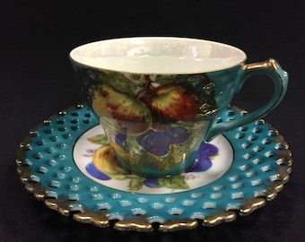 Vintage LM Royal Halsey Very Fine China Cup & Saucer - Turquoise w/ Fruit Design