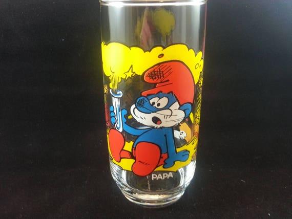 """Very Good Condition Vintage 1982 Peyo Papa Smurf  Drinking Glass 6/"""""""