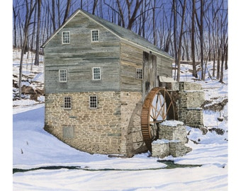 Rock Run Mill - Winter Landscape, Art Print, Watercolor Painting, Christmas gift ideas