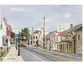 Middletown, MD - Street Scene, Art Print, Watercolor Painting, Christmas gift ideas