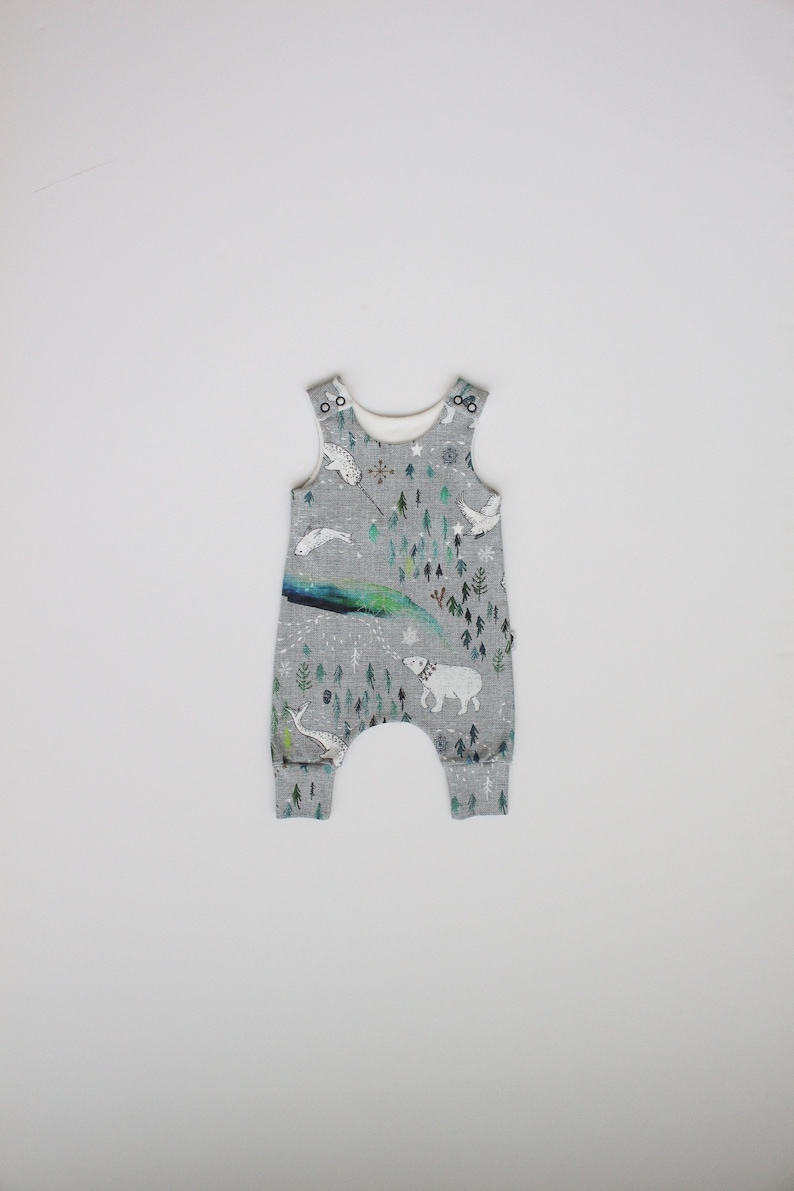 READY TO SHIP by Little Dreamer Arctic Dreaming Organic Harem Romper