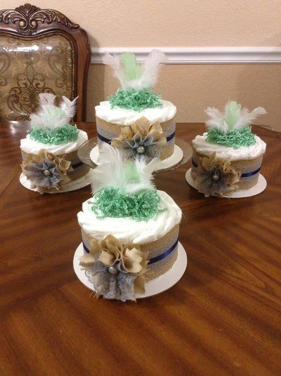 Set Of 4 Mini Diaper Cakes Boho Diaper Cakes Neutral Baby Etsy