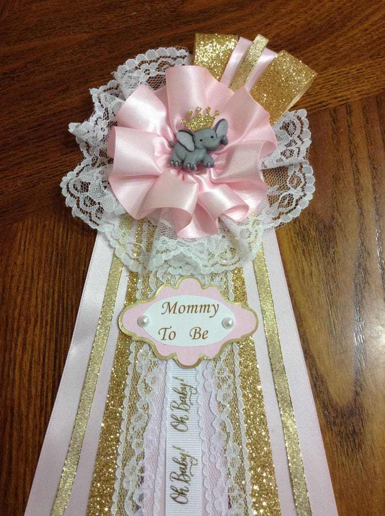 d6c3ddc98 Elephant Theme Baby Shower  Mommy To Be Corsage  Pink White