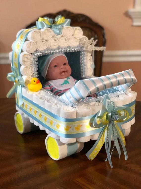 Baby Shower Boy Decoracion.Elegant Diaper Stroller Centerpiece Boy Baby Shower Carriage Centerpiece Original Decoracion Of Baby Shower Centerpiece Or Gift